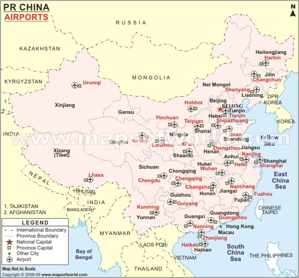international airports in china map