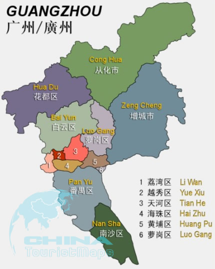 Guangzhou district map