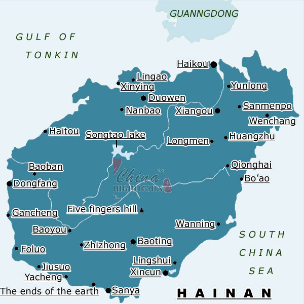 Map of Hainan Province