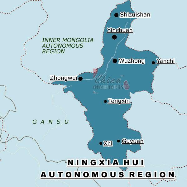 Ningxia China Map.Ningxia A Provincial Level Division In N W China
