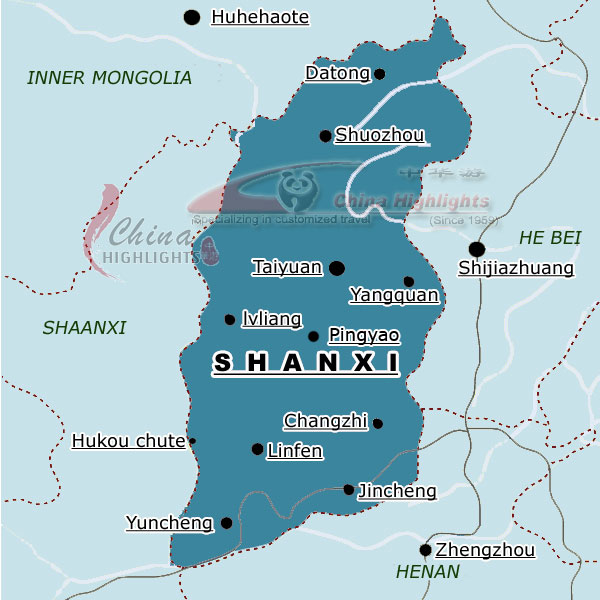 Shanxi China Map.Shanxi A Provincial Level Division In North China