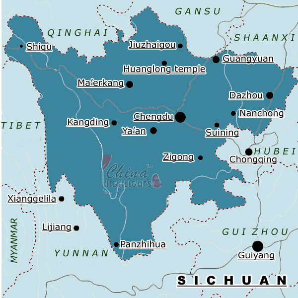 Map of Sichuan Province